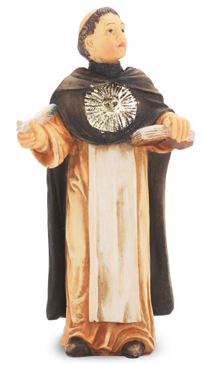 """4"""" St. Thomas Aquinas statue is hand painted and is made of a solid resin. Statue has gold leaf trim accents and Italian gold stamped prayer card. Boxed"""