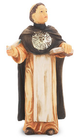 "4"" St. Thomas Aquinas statue is hand painted and is made of a solid resin. Statue has gold leaf trim accents and Italian gold stamped prayer card. Boxed"
