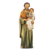 """4"""" St. Joseph with Child Hand Painted Solid Resin Statue with Gold Leaf Trim Accents and Italian Gold Stamped Prayer Card. (Deluxe Window Box)"""