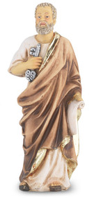 """4"""" St. Peter statue is hand painted and is made of a solid resin. Statue has gold leaf trim accents and Italian gold stamped prayer card. Boxed"""