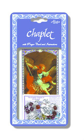 "Saint Michael Deluxe Chaplet with Multicolored Glass Beads. Packaged with a Laminated Holy Card & Instruction Pamphlet. (Overall 6.5"" x 3.5"")"