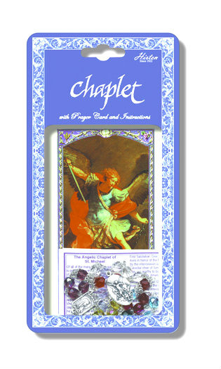 """Saint Michael Deluxe Chaplet with Multicolored Glass Beads. Packaged with a Laminated Holy Card & Instruction Pamphlet. (Overall 6.5"""" x 3.5"""")"""