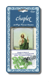 "Saint Jude Deluxe Chaplet with Green Glass Beads. Packaged with a Laminated Holy Card & Instruction Pamphlet. (Overall 6.5"" x 3.5"")"