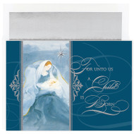 "Blue Madonna Christmas Boxed Holiday Cards featuring Silver Foil with an emboss. Inside Sentiment: ""Wishing you a Christmas filled with beautiful moments"". 18 cards/18 foil lined envelopes. Folded Card Size: 7.875 x 5.625. Packaged in a printed box with an inside fit acetate lid."