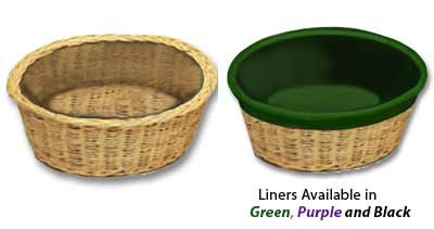 """Round Collection Basket is hand made of round reed.  Round basket measures 12"""" diameter x 4"""" deep.  Removable Basket Liners come in three different colors and are an additional cost. (Item 454RL)"""
