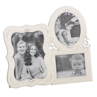 "7.25"" Triple Photo Frame, Holds two 3"" x 5"" photos and one 2.5"" x 3"" photos. Zinc alloy and lead freed. From the Caroline Collection!"