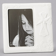 "7.6"" Lace Confirmation Frame. Hold a 4 x 6"" Photo. Procelain. Dimensions: 7.625""H x 7.875""W x 0.75""D"