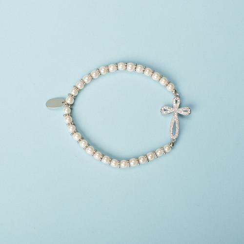 """6"""" Silver Child's Pave CZ Cross Bracelet. Stretch. Made of Glass and Brass."""