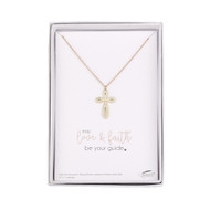 "Gold Plate Infinity Cross on a 15"" chain with a 1"" extender. Measures 3/4""W x 1""H"