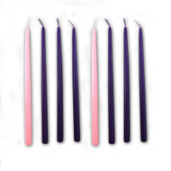 "Tiny Tapers for Advent. 2Sets of  6 purple and 2 pink for your advent wreath. This set of 8 ~ 10"" tiny tapers Advent candles is perfect for use in home Advent wreaths that require an Advent candle that is 1/2 inch in diameter!."