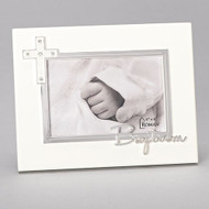 "7""H Baptism Frame Holds a 4x6"" photo and has the word Baptism written across the bottom of the frame.  The Baptism Frame is made of medium density fiberboard. This Baptism Frame is from the Caroline Collection and is a perfect gift for a baptism"