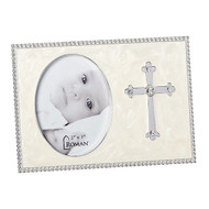 "From the Caroline Collection comes this beautifully adorned Cross Photo Frame.  The Cross Photo Frame has a pearlized background and a lovely cross is mounted on the side of the photo. The Cross Frame measures 3.75""H and holds a 2"" x 3"" photo.  Perfect for a baptism gift!!"