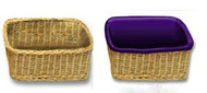 "Rectangular basket Hand made of round reed, these unlined Rectangular Baskets are light and strong. The baskets are offered with various options: Rectangular basket with no handle measures 9"" x 13"" x 4"". or Double Depth Size 12"" x16"" x 8"". Removable Basket Liners come in three different colors and are available for an additional cost  (Item 454BL)"