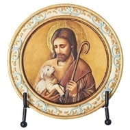 "4.5"" round Jesus with the Lamb Plaque. Made of resin/stone and comes with an easel"