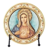 "4.5"" Immaculate Heart of Mary Plaque. Made of resin/stone and comes with an easel"