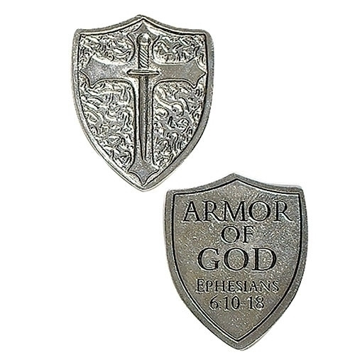 """1 1/4"""" Armor of God Shield Pocket Token. Great for Confirmation token gifts!"""