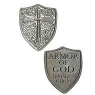 "1 1/4"" Armor of God Shield Pocket Token. Great for Confirmation token gifts!"