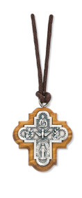Confirmation olive wood with pewter four way cross. Comes corded and boxed