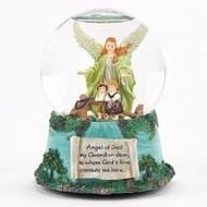 """5.75"""" Guardian Angel Musical Dome.  Plays """"Jesus Loves Me"""". Materials: Resin/glass"""