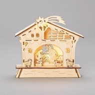 LED Lasercut plywood Christmas Nativity. Height: 6.69""