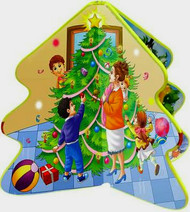 "Children will delight in this cleverly designed book about Christmas joys. When tied closed with its red ribbon, it is half a tree, but when tied open, it is a beautiful full tree that can serve as a decoration in school or at home. 6 pages ~ 1/8"" thick. 10""H ~ 5.5""W  ~ 1""D"
