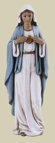 """Immaculate Heart of Mary 4"""" Statue. Resin/Stone Mix. Dimensions: 3.875""""H x 1.25""""W x 0.875""""D"""