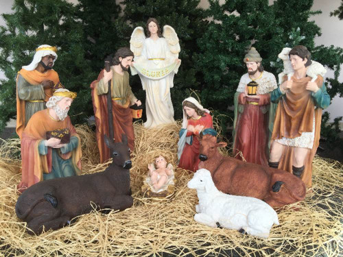 "This 32-inch nativity set comes with 12 pieces that are made with a fiberglass-resin material and hand painted. The set comes with the holy family, the three wise men, the angel, the shepherd, and three animals. This church nativity set is great for indoor and outdoor use.   Extra animals are available 17"" duck (53378), 17"" rooster (53379), 25"" goat (53375), 42"" standing camel (53368), 29"" elephant (53389), or Seated camel (53318)"
