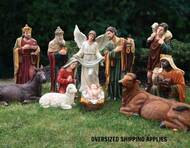 "This over sized indoor and outdoor nativity set is the perfect addition to your church's Christmas decorations. The 39"" set comes with 12 pieces that are made with a resin and fiberglass mix and hand painted with outdoor paint. Shop this nativity set now.  Extra animals are available 17"" duck (53378), 17"" rooster (53379), 25"" goat (53375), 42"" standing camel (53368), 29"" elephant (53389), or Seated camel (53318)"