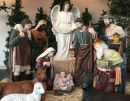 "48"" Indoor or Outdoor 12 piece Nativity is made of fiberglass and resin construction with outdoor paint. Full round traditionally colored fiberglass figures with removable Jesus. Breathtakingly beautiful detail makes this traditional, fiberglass nativity an elegant edition to your Church or home decor! Extra animals are available 17"" duck (53378), 17"" rooster (53379), 28"" goat (53375), 42"" standing camel (53368), 29"" elephant (53389), or 40 Seated camel (53319)"