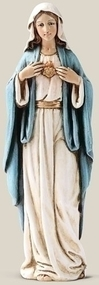 "Immaculate Heart of Mary Statue. Resin/Stone Mix.  Dimensions: 6""H x 2""W x 1.5""D"