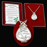 "Silver locket with engraving ""I am with you always"" (box includes a copy of the poem). The beautifully designed gift box has been designed to hold a loved one's picture beside the bookmark with the Merry Christmas from Heaven poem."