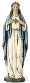 "Immaculate Heart of Mary Statue. This 10""H Immaculate Heart of Mary statue is made of a resin/stone mix. The Immaculate Heart of Mary statue measures: 10""H x 3.25""W x 2.25""D."