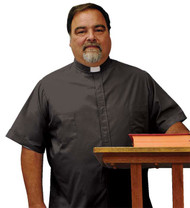 Long or Short Sleeve Tab Collar Shirts in Gray or black, that are a comfortable full cut and are easy care. 65% polyester and 35% cotton. Two breast pockets. Can be personlized with Christian Fish, Celtic Cross, Clergy Cross or Deacon Cross at an additional cost.