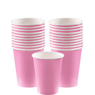 Pink  9-ounce cups, 18 per package. Coordinating dessert plates, dinner plates, small and large napkins also available!
