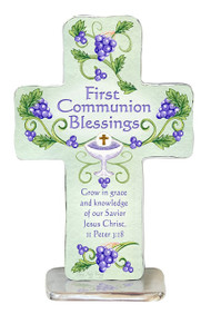 "First Communion Blessings Cross. Features hand-polished edging and textured back. 4 inches high, includes metal base.  ""Grow in grace and knowlege of our Savior Jesus Christ. II Peter 3:18"". Comes gift boxed"