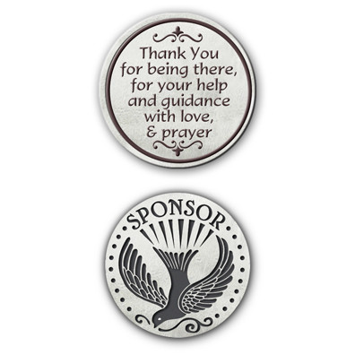 """This 1"""" diameter pocket token is a thoughtful way to say thank you to your sponor. Sentiment says """"Thank you for being there for your help and guidance with love and prayer."""