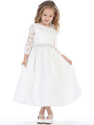 3/4 Length Sleeves, all lace with silver corded trim at the waist.  Made in the USA! Sizes: 6,7,8,10,12. Matching Doll Dress (fits American Dolls) Item 180328