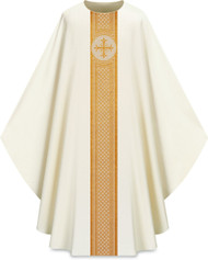 """This Gothic chasuble features a gold patterned vertical orphrey on both the front and back. It comes in Purple, Green Red and Ecru. It is made from Elias fabric and is part of the Assisi series. Elias fabric is 100% polyester and is lightweight and durable.  The Gothic Chasuble measure 53""""L x 63""""W;. The chasuble has a plain collar and does come with an inside stole. Please supply your Intitution's Federal ID # as to avoid an import tax. Please allow 3-4 weeks for delivery if item is not in stock as it is shipped from overseas."""