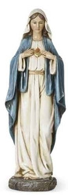 "Immaculate Heart of Mary Statue. Resin/Stone Mix. Dimensions: 14""H x 4.75""W x 3.5""D"