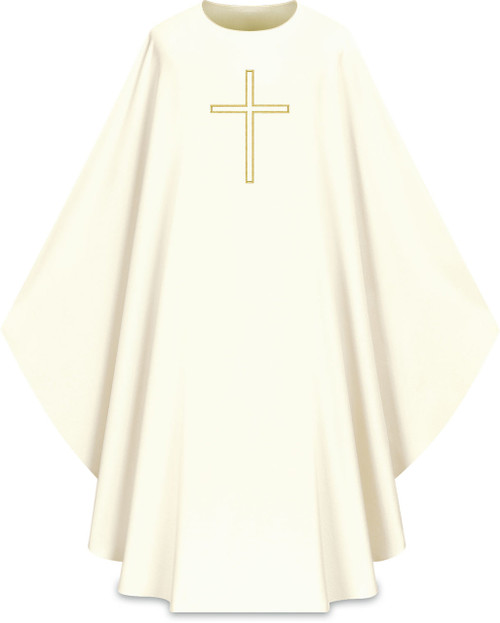 """This chasuble features an embriodered cross both the front and back. It comes in Purple, Green Red and Ecru. It is made from Elias fabric and is part of the Assisi series. Elias fabric is 100% polyester and is lightweight and durable. The Chasubles measure 53""""L x 63""""W;. The chasuble has a plain collar and does come with an inside stole. Care instructions: Wash in warm suds, rinse well, do not wring. Hang wet to dry, no ironing needed. Please supply your Intitution's Federal ID # as to avoid an import tax. Please allow 3-4 weeks for delivery if item is not in stock as it is shipped from overseas."""