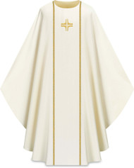 "This chasuble features with galoon and embroidered cross on front and back. It comes in Purple, Green Red and White. It is made from Elias fabric and is part of the Assisi series. Elias fabric is 100% polyester and is lightweight and durable.  The Chasubles measure 53""L x 63""W;. The chasuble has a plain collar and does come with an inside stole. Care instructions: Wash in warm suds, rinse well, do not wring. Hang wet to dry, no ironing needed. Please supply your Intitution's Federal ID # as to avoid an import tax. Please allow 3-4 weeks for delivery if item is not in stock as it is shipped from overseas."