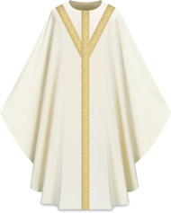 "This chasuble features  orphreys on front and back. It comes in Purple, Green Red and Ecru. It is made from Elias fabric and is part of the Assisi series. Elias fabric is 100% polyester and is lightweight and durable.  The Chasubles measure 53""L x 63""W;. The chasuble has a plain collar and does come with an inside stole. Care instructions: Wash in warm suds, rinse well, do not wring. Hang wet to dry, no ironing needed. Please supply your Intitution's Federal ID # as to avoid an import tax. Please allow 3-4 weeks for delivery if item is not in stock as it is shipped from overseas."