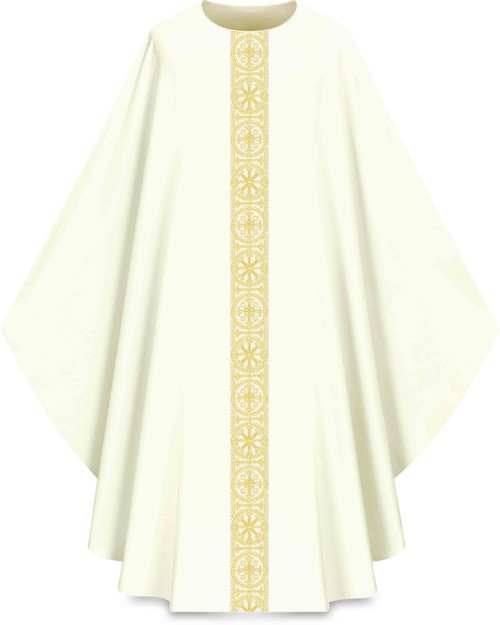 "This Gothic chasuble features a gold patterned vertical orphrey on both the front and back. It comes in Purple, Green Red and Ecru. It is made from Elias fabric and is part of the Assisi series. Elias fabric is 100% polyester and is lightweight and durable.  The Gothic Chasuble measure 53""L x 63""W;. The chasuble has a plain collar and does come with an inside stole. Please supply your Intitution's Federal ID # as to avoid an import tax. Please allow 3-4 weeks for delivery if item is not in stock as it is shipped from overseas."