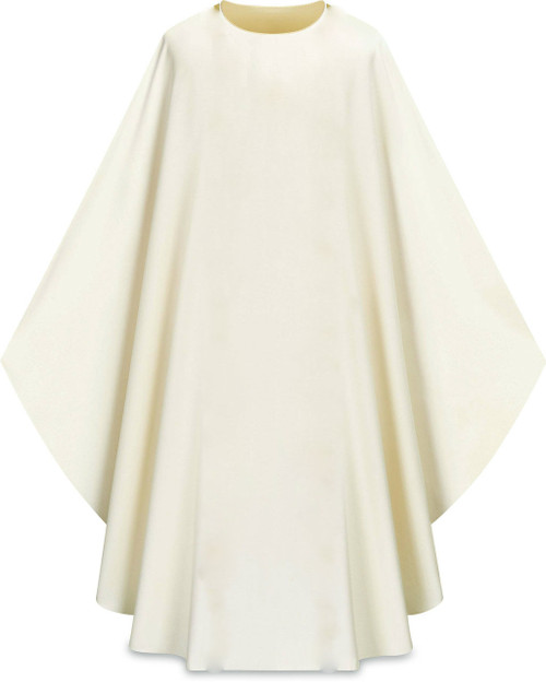 """This plain chasuble made from Elias fabric comes in Purple, Green Red and Ecru. Elias fabric is 100% polyester and is lightweight and durable.  The Chasuble measure 53""""L x 63""""W;. The chasuble has a plain collar and does come with an inside stole. Care instructions: Wash in warm suds, rinse well, do not wring. Hang wet to dry, no ironing needed. Please supply your Intitution's Federal ID # as to avoid an import tax. Please allow 3-4 weeks for delivery if item is not in stock as it is shipped from overseas."""