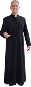 Image of a black cassock, a long-sleeve, ankle-length garment worn by clergy members.