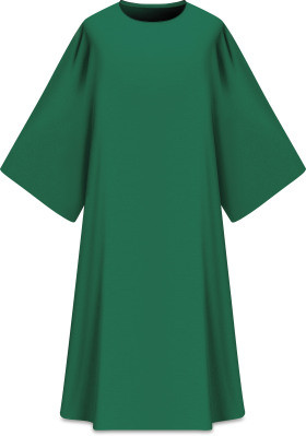 """This Dalmatic is made from Elias fabric and is part of the Assisi series and comes in Purple, Green Red and Ecru.  Complements Chasuble 701001. Elias fabric is 100% polyester and is lightweight and durable.  Measurements: 53""""L x 63""""W;.  Care instructions: Wash in warm suds, rinse well, do not wring. Hang wet to dry, no ironing needed. Please supply your Intitution's Federal ID # as to avoid an import tax. Please allow 3-4 weeks for delivery if item is not in stock as it is shipped from overseas."""