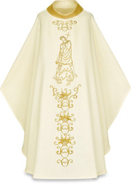 """Chasuble in Cantate (99% wool, 1% Lurex-gold threads). Width: 59"""", Length: 53"""".Chasuble comes with inside stole. Embroidered floral motif with Saint George on front and back. 4"""" roll collar. This item is imported from Europe. Please supply your Institution's Federal ID # as to avoid an import tax. Please allow 3-4 weeks for delivery if item is not in stock.  Other saints are available. Please call 1 800 523 7604 to inquire."""