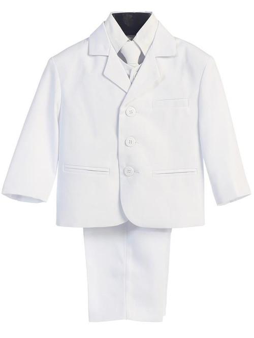 White Suit-This high quality five piece Communion suit is an incredible buy!  Set includes jacket, pants, vest, dress shirt and adjustable tie. Regular and Husky Sizes available.