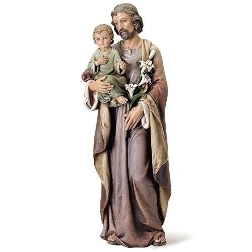 "37 Inch  Saint Joseph w/ Child Statue. Resin/Stone Mix. Patron Saint of Families and Carpenters Dimensions: 36.75""H x 13.5""W x 12.25""D"
