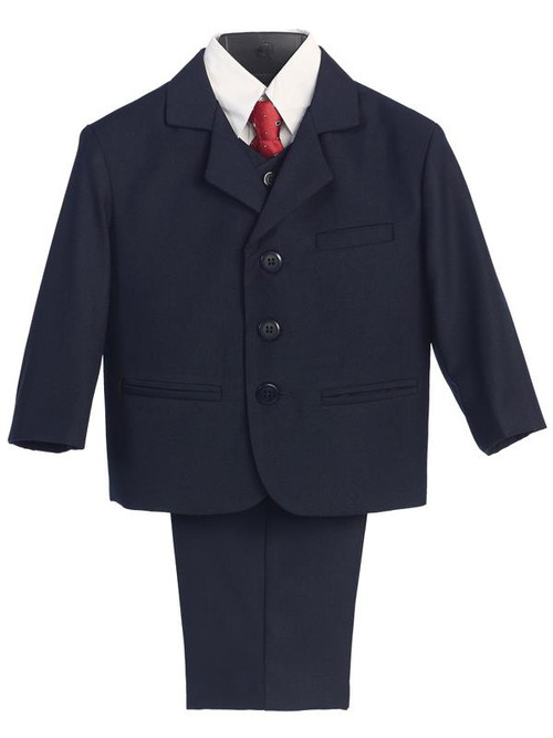 Navy Suit-This high quality five piece Communion suit is an incredible buy!  Set includes jacket, pants, vest, dress shirt and adjustable tie. Regular and Husky Sizes available.